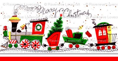 vintage retro merry Christmas trains railway tracks mistletoe trees coniferous cones snow winter presents gifts festive holiday seamless border