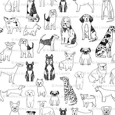 Dogs Black And White Hand Drawn Dog Illustration Cute Dogs Pet