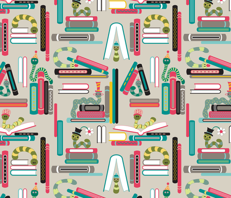 Bookworms (Elementary) fabric by brendazapotosky on Spoonflower - custom fabric
