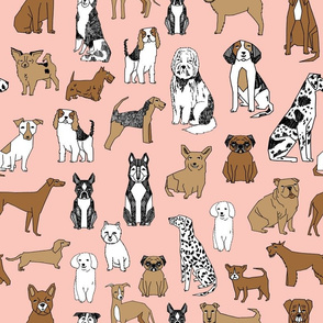 dogs // pink cute pets dog breed hand drawn illustration pastel pink girly dog print