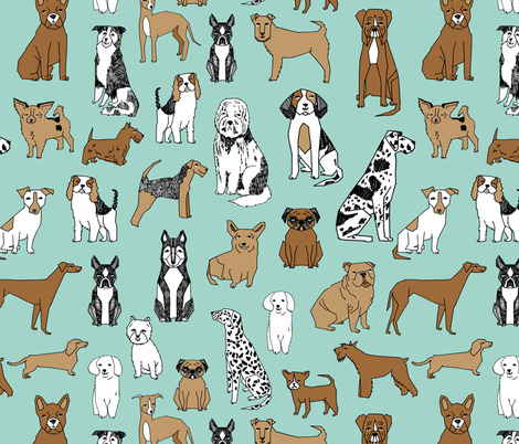 Dogs Mint Cute Pets Dog Breeds Hand Drawn Illustration