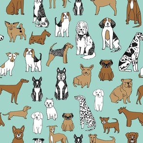 dogs // mint cute pets dog breeds hand drawn illustration dog pattern seamless pattern print