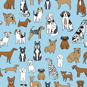 dogs // light blue sky blue baby blue cute dog pets dog breeds hand drawn illustration pattern