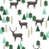 Reindeer Geo Forest - White by Andrea Lauren