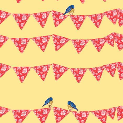 Bunting and Bluebirds on yellow fabric by karenharveycox on Spoonflower - custom fabric