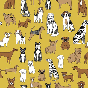 happy dogs // dog pet daschund boston terrier dalmatian cute dogs fabric