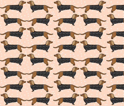 Dog Print Wallpaper dachshund // dog pet dog doxie sausage dog blush dog print