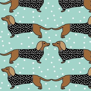 dachshund // mint dog pastel cute dots dog pet breed sausage dog doxie dog illustration pattern for fabric