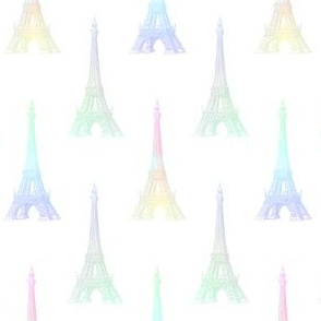 Paris Eiffel Tower Pastel Rainbow