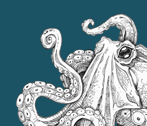 teal octopus wall hanging fabric by melinda_wolf_designs on Spoonflower - custom fabric