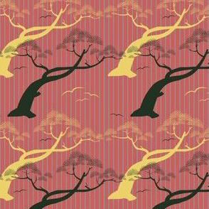 Oriental Trees- Rose Pink & Yellow