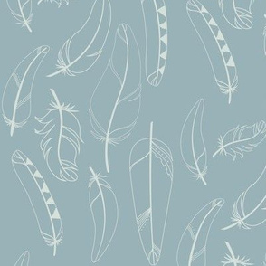 Falling Feathers Fabric in Tern