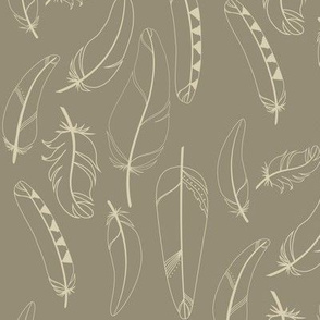 Falling Feathers Fabric in Whimbrel