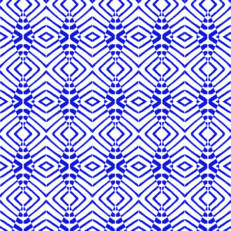 Tiny Tribal Sentries Blue White fabric by eve_catt_art on Spoonflower - custom fabric