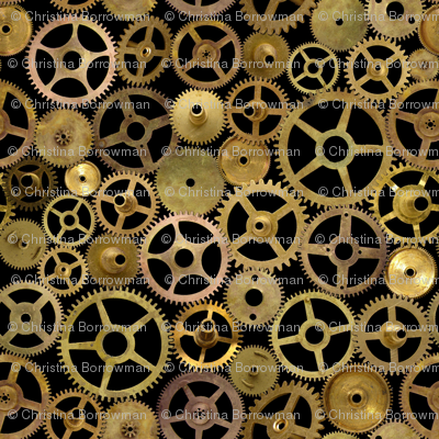 Steampunk Gears On Black Fabric Joyfulrose Spoonflower