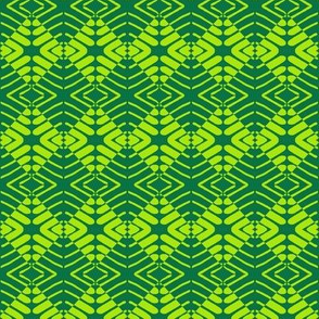 Tribal Squares Green Yellow