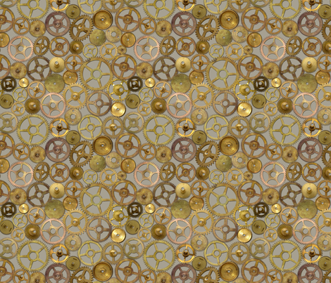 Steampunk Gears on Silver fabric by joyfulrose on Spoonflower - custom fabric