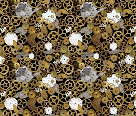 Steampunk Watch Parts on Black fabric by joyfulrose on Spoonflower - custom fabric