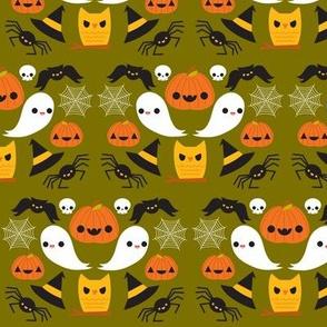 Pumpkins & Ghosts Green