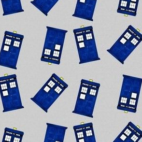 Tiny Blue Police Boxes on Light Grey