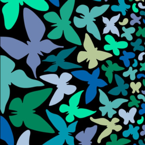 Gradient butterflies (blue/green on black)