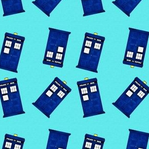 Tiny Police Boxes on Aqua Blue