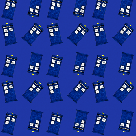 Tiny Police Boxes on Blue fabric by bohobear on Spoonflower - custom fabric
