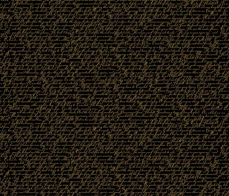 Steampunk Poetry - Gold on Black fabric by joyfulrose on Spoonflower - custom fabric