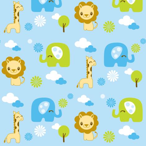Nursery safari animals fabric boredinc spoonflower for Safari fabric for nursery