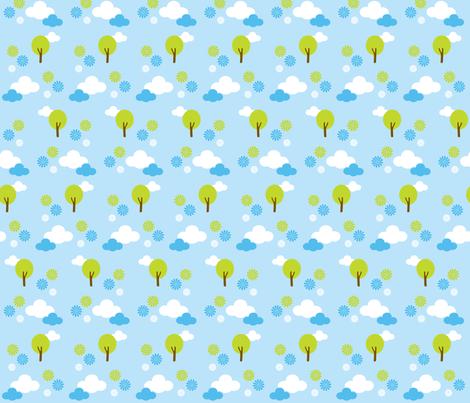 Trees & Clouds Light Blue fabric by boredinc on Spoonflower - custom fabric