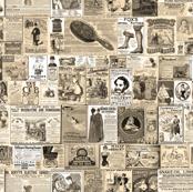 Victorian Newsprint Advertisements - Sepia Tones