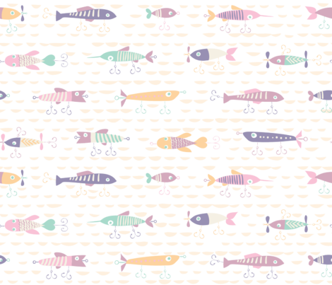 Fishing Lures Pastels fabric by chrissievh on Spoonflower - custom fabric