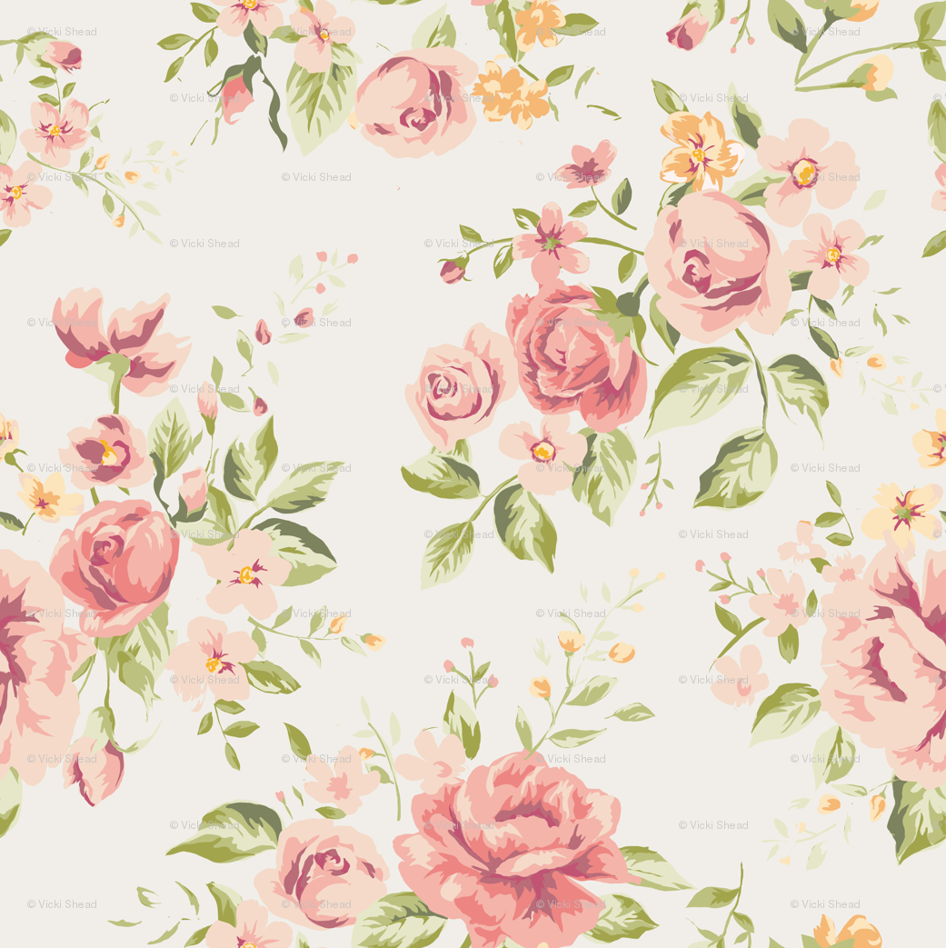 Vintage rose floral fabric curlywillowco spoonflower jeuxipadfo Choice Image