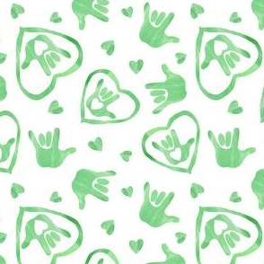 ASL I Love You Signs in Emerald