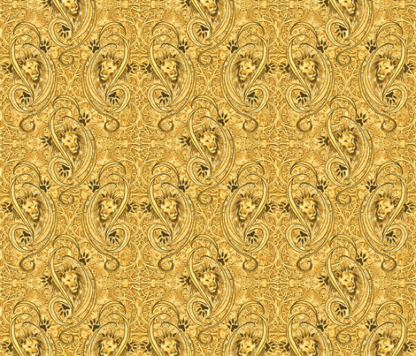 Golden Lions Damask fabric by greenedevine on Spoonflower - custom fabric