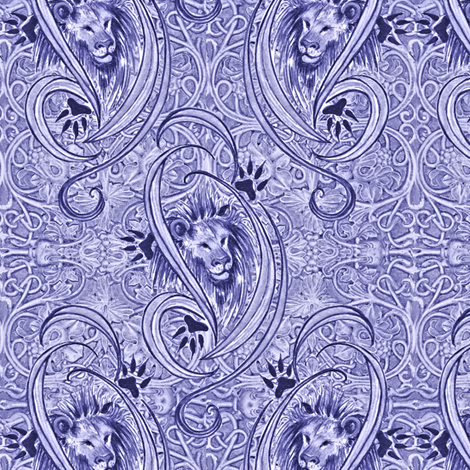 lavender lions fabric by greenedevine on Spoonflower - custom fabric