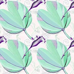 Minerva Leaves Mint & Violet
