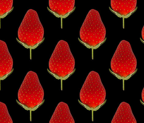Strawberries on Black - Huge Strawberry photo repeating pattern fabric by thecumulusfactory on Spoonflower - custom fabric
