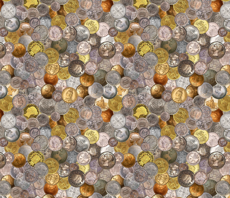 Victorian Era Coins fabric by joyfulrose on Spoonflower - custom fabric