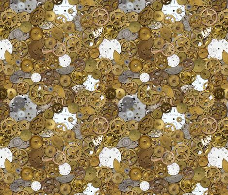 Steampunk Watch Parts Pile fabric by joyfulrose on Spoonflower - custom fabric