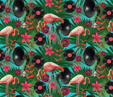 flamingos on teal fabric by kociara on Spoonflower - custom fabric