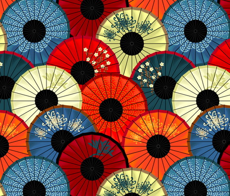 Chinese umbrellas (large scale) fabric by bippidiiboppidii on Spoonflower - custom fabric