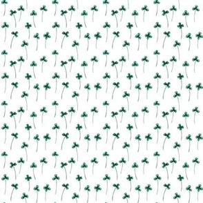 Shamrock Field in Green on White, Mini