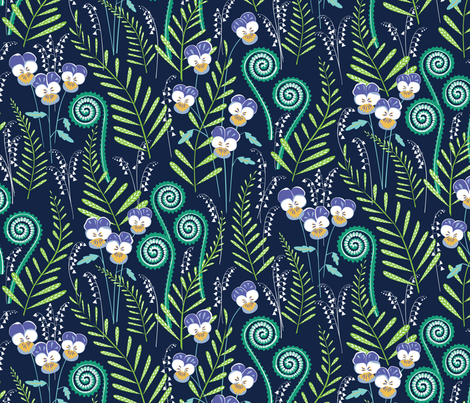 Love-in-idleness Indigo and violet fabric by jillbyers on Spoonflower - custom fabric