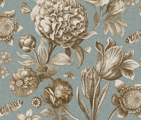 Windsor Botanical in Blue Green fabric by willowlanetextiles on Spoonflower - custom fabric