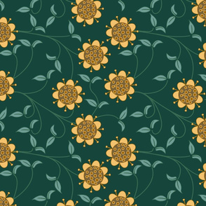 Dark green and yellow retro flower pattern