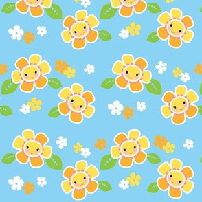 Girly Flowers Blue
