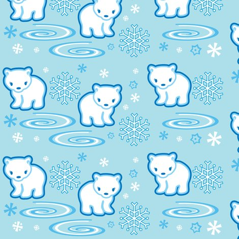 Polar bear light blue fabric boredinc spoonflower - Light blue linen wallpaper ...