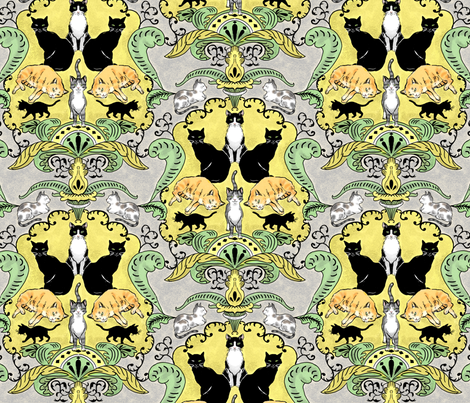 Cats I Have Loved Damask fabric by vinpauld on Spoonflower - custom fabric