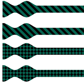 Four Hunter Green and Black Bow Ties  v7